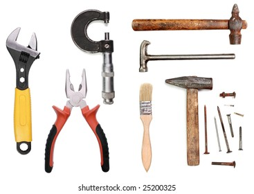 Tools group on white background