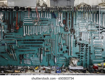 Tools hanging from a wall at a home garage near Montreal on Monday, April 3, 2017.