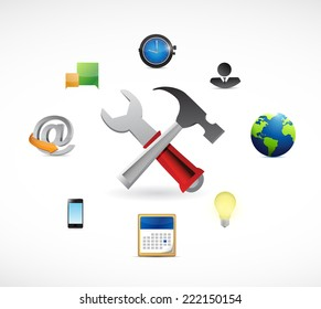 tools and icons around. illustration design over a white background