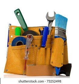 tools and instruments in leathern belt isolated on white background