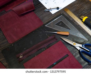 Tools for leather crafting and pieces of Marsala leather Manufacture of leather