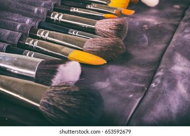 Tools make-up artist. Brushes for makeup