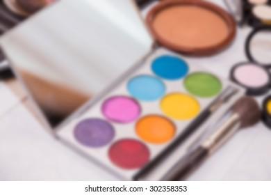 Tools make-up artists, blurred background