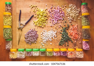 Tools For Making Mosaic, Broken Tiles, Colorful Glass For Mosaic Making, Hand Craft, Tweezers, Cutter And Jars Full Of Broken Tiles For Professional Mosaic Making