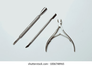 Tools for manicure, shellac isolated on white background