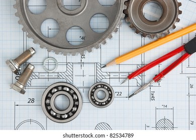Bearing Drawing Mechanical Tools Images, Stock Photos