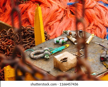 Tools for mending fishing nets aboard a fishing trawler in Newlyn harbour. Cornwall, England.