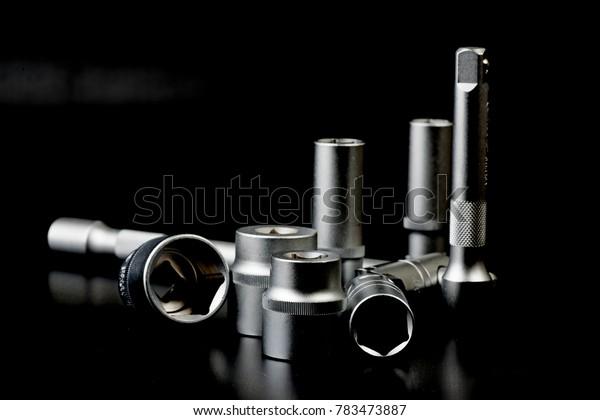 tools on the black