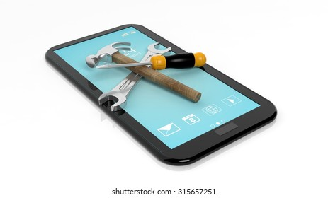 Tools on tablet,isolated on white background