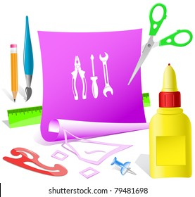 Tools. Paper template. Raster illustration.