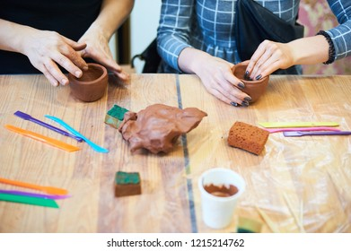 tools for pottery on the table