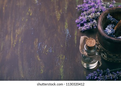 Tools for preparation of lavender oil with space for text