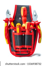 tools with red yellow handles in small tool belt isolated
