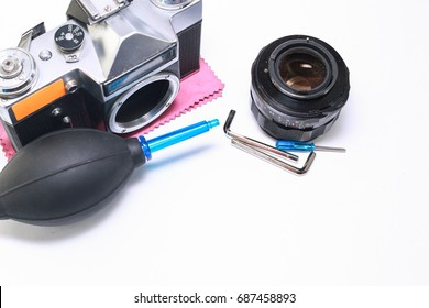 Tools for repairing camera, remove dust. camera cleaning services conceptual image