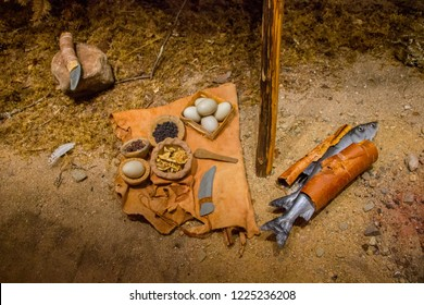 Tools of Sami people in Lapland, where they still live the traditional way and go fishing and hunting for eggs.