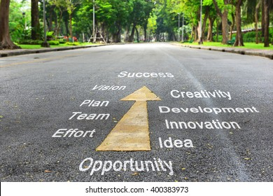 Tools for success words on the road, business concept