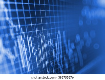 Tools of technical analysis. Market trading screen. Stock market graph on the screen. Stock diagram on the screen. Macro close-up. Currency trading theme. Share price candlestick chart.