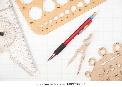 Tools used for precise technical drawing such as rulers, compasses and technical pencil