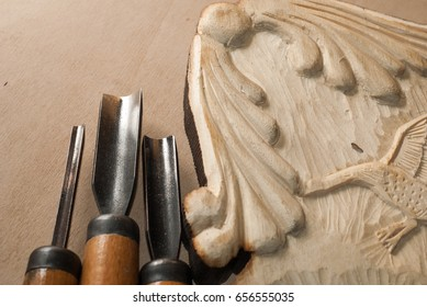 Tools for wood carving.