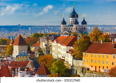 Toompea hill with fortress wall, tower and Russian Orthodox Alexander Nevsky Cathedral, view from the tower of St. Olaf church, Tallinn, Estonia