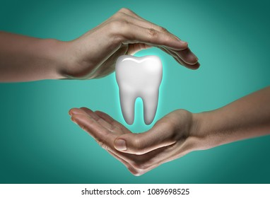 A tooth between two palms of a woman on  blue and green background. Dental care concept.