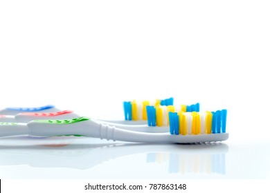 tooth brushes close up