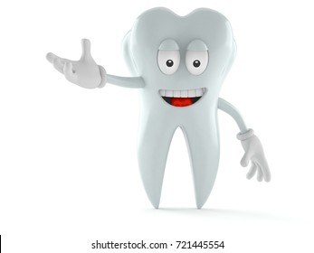 Tooth character isolated on white background. 3d illustration