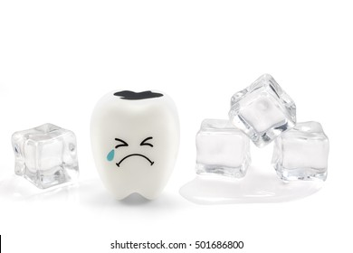 Tooth decay sensitive is crying with cold ice,  isolated on white background with clipping path.