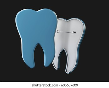 Tooth in the form of an badge, Dental Concept Frame. isolated Black, 3d Illustration