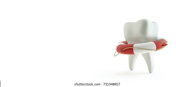Tooth in the lifebuoy, on white background. Protect Your Teeth Concept. 3d illustration