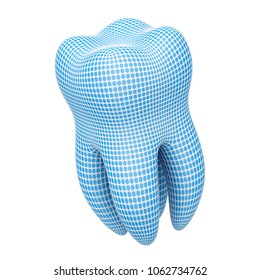 The tooth on a white background. 3D Illustration.