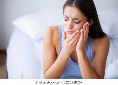 Tooth Pain. Beautiful Woman Feeling Strong Pain, Toothache.