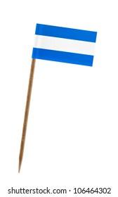 Tooth pick wit a small paper flag of El Salvador