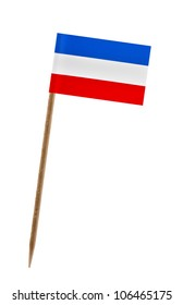 Tooth pick wit a small paper flag of Yugoslavian Fed. Rep.