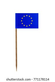 Tooth pick wit a small paper flag of Europe