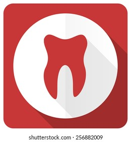 tooth red flat icon