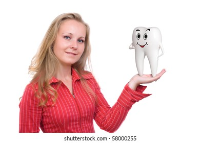 Tooth speaking on blond woman's hand isolated