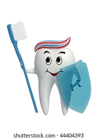 Tooth standing with a toothbrush and a shield in his hand