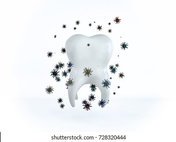 The tooth is surrounded by bacteria and microbes. White healthy human tooth. 3D rendering