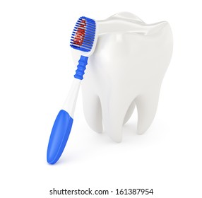 tooth and toothbrush isolated on white background. 3d render