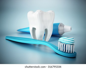 Tooth, toothpaste and toothbrush on blue surface