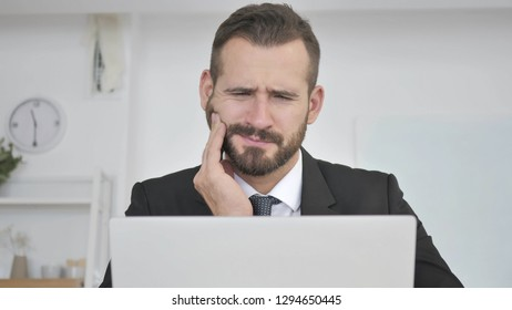 Toothache, Businessman with Tooth Pain at Work