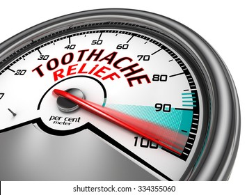 Toothache relief to hundred per cent conceptual meter, isolated on white background