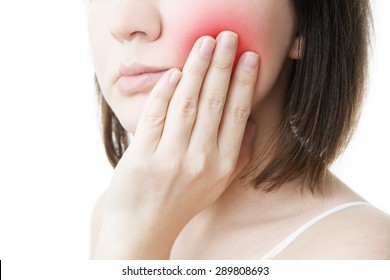Toothache. Woman's face isolated white background