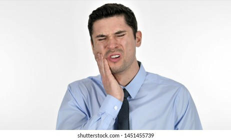 Toothache, Young Businessman with Tooth Infection