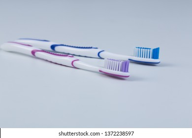Toothbrush isolated on a white background , toothbrushes colored.