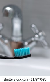 Toothbrush, oral hygiene. Bathroom. Selective focus.