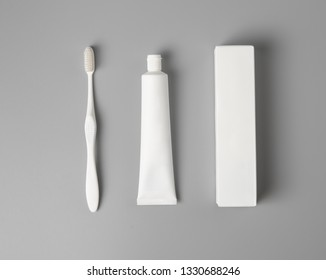 toothbrush with paste and box mock up,top view