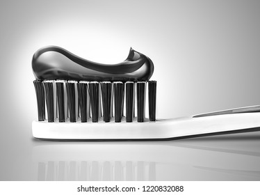 toothbrush with toothpaste close-up in black and white colors. 3D design.