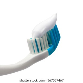 Toothbrush with toothpaste. Isolated on white background.